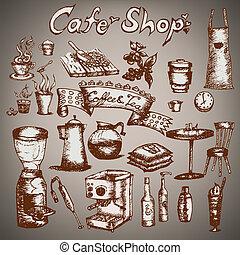 Cafe shop set  Hand drawn outline artwork.