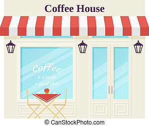 Cafe shop, storefront. Vector illustration. Coffee house facade.