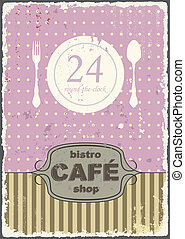 Cafe shop vintage retro template. Vector