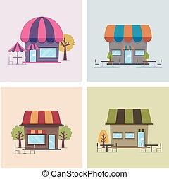 cafe, shops, illustration
