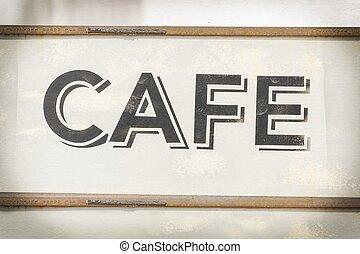 Cafe sign along historic Kamouong street in Vang Vieng, Laos. Vintage Processing.