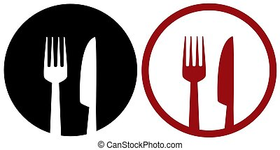 cafe sign with fork, plate and knife
