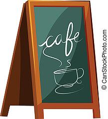Illustration of a cafe signage on a white background