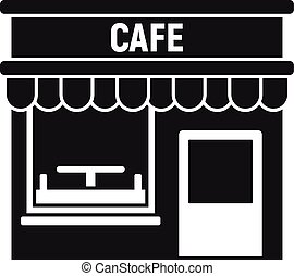 Cafe street shop icon, simple style