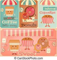 Cafe Sweet Shop. Cartoon Cover Menu Set - Funny Coffee,...