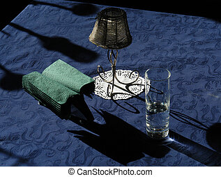 cafe table, blue tablecloth