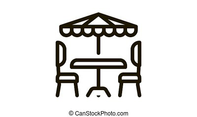 cafe table chairs and umbrella Icon Animation. black cafe table chairs and umbrella animated icon on white background