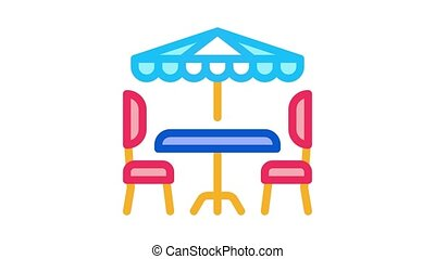 cafe table chairs and umbrella Icon Animation. color cafe table chairs and umbrella animated icon on white background