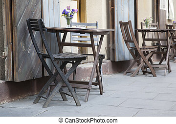 Cafe Tables and Chairs in Krakow, Poland