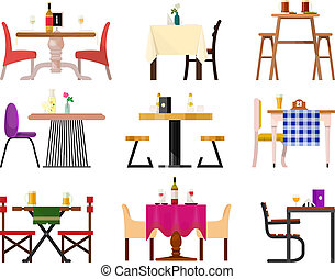 Cafe tables in restaurant setting vector dining furniture table and chair for romantic lunch dinner date in cafeteria illustration isolated on white background