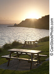 Cafe Tables, Isle of Skye, Scotland at Sunset, UK