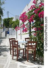 cafe, taverna, grek, klassisk, stol, bord, öar