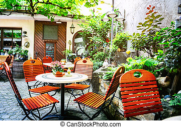 Cafe terrace in small European city