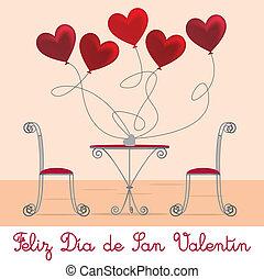 Cafe Valentine Card - Spanish cafe Valentine's Day Card