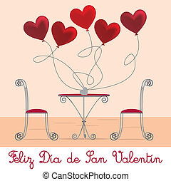 Cafe Valentine Card - Spanish cafe Valentine's Day Card