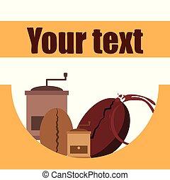 cafe., vector, communie, grinder., boon, achtergrond., koffie, ontwerp