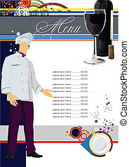 (cafe), vector, menu., ziek, restaurant