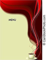 (cafe), vetorial, menu., ilustração, restaurante