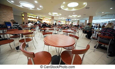 cafe with chairs and table in supermarket - nice cafe with...