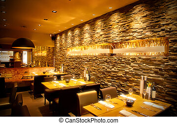 interior of cafe with stylish stone wall