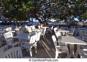 cafe with white tables