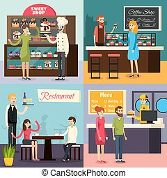 Cafe Worker Flat Icon Set