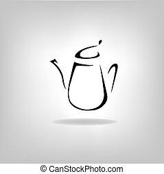 cafeteira, chaleira, isolado, bule, ícone
