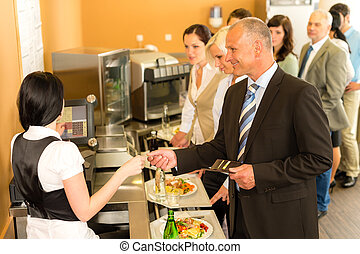 Cafeteria business man pay by credit card cashier -...