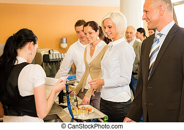 Cafeteria cashier woman check guest list businesswoman take...