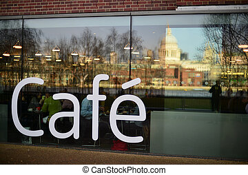 Cafeteria exterior, London, UK - Exterior of a cafeteria in...