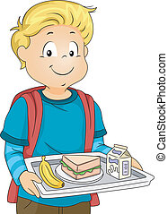 Cafeteria Lunch - Illustration of a Little Boy in a...