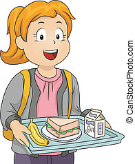 Cafeteria Lunch - Illustration of a Litte Girl in a...