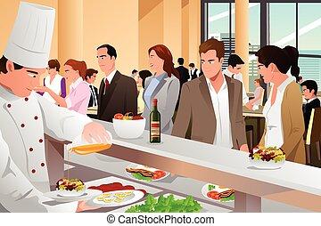 cafeteria, mangiare, persone affari