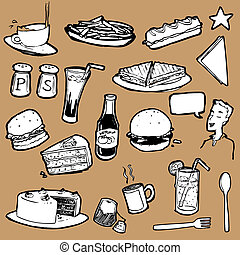 Cafeteria_Food_Elements_stock - A collection of hand drawn...
