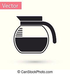 cafetière, gris, illustration, isolé, arrière-plan., vecteur, blanc, icône