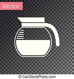 cafetière, isolé, illustration, arrière-plan., vecteur, blanc, transparent, icône