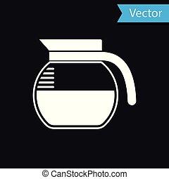 cafetière, isolé, illustration, arrière-plan., vecteur, noir, blanc, icône