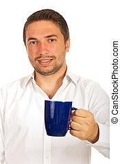 caffè, affari, offerta, uomo