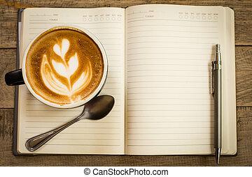 caffè, arte, tazza, vendemmia, stile, latte, caldo, retro, tavola