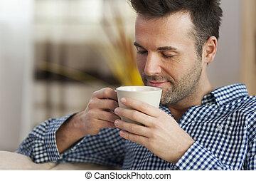 caffè assaggia, mattina, bello, uomo
