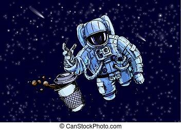 caffè, astronauta, tentando, tazza, portata