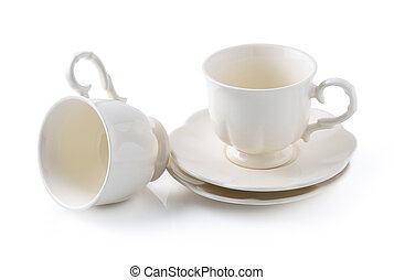caffè, bianco, isolato, vuoto, tazza