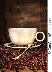 caffè bianco, tazza, con, cucchiaio, su, arrostito, fagioli