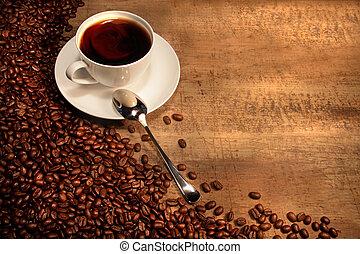 caffè bianco, tazza, con, fagioli, su, rustico, tavola