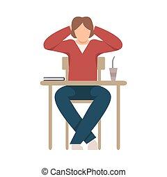 caffè, birichino, scrivania, ragazzo, scuola, durante, bere, vettore, illustrazione, lezione, seduta