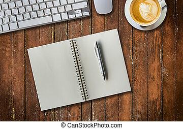 caffè, blocco note, cup., spazio, computer, sopra, copia, vista