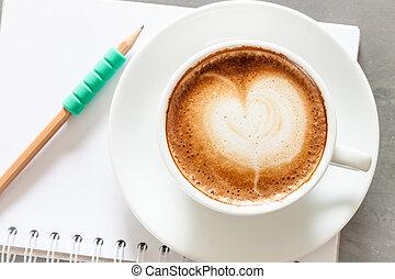 caffè, blocco note, grigio, fondo, tazza