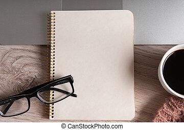 caffè, blocco note, tazza, laptop, legno, tavola