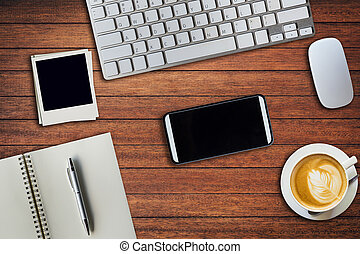 caffè, blocco note, ufficio, tazza, cima, photo., space., computer, sopra, tavola, copia, topo, cornice, vista