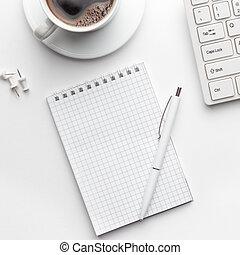 caffè, blocco note, ufficio, tazza, computer, tavola